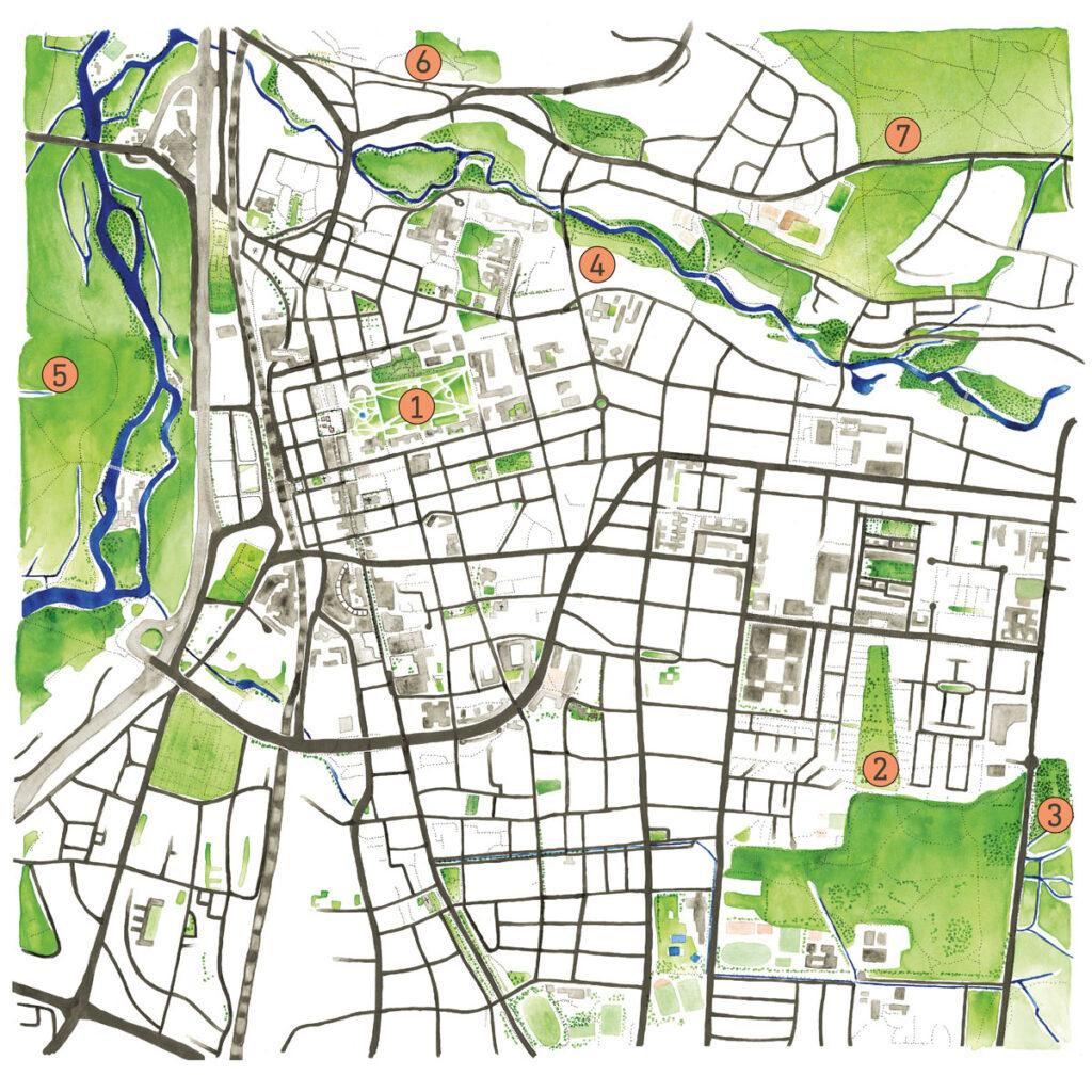 Stadtplan Erlangen schönste Gärten und Parks